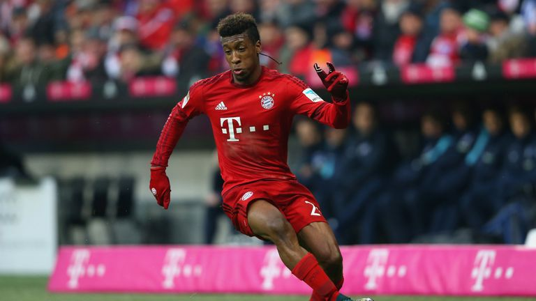 Kingsley Coman in action for Bayern Munich