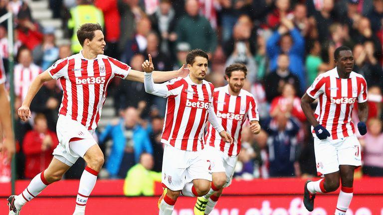 Bojan Krkic celebrates scoring for Stoke