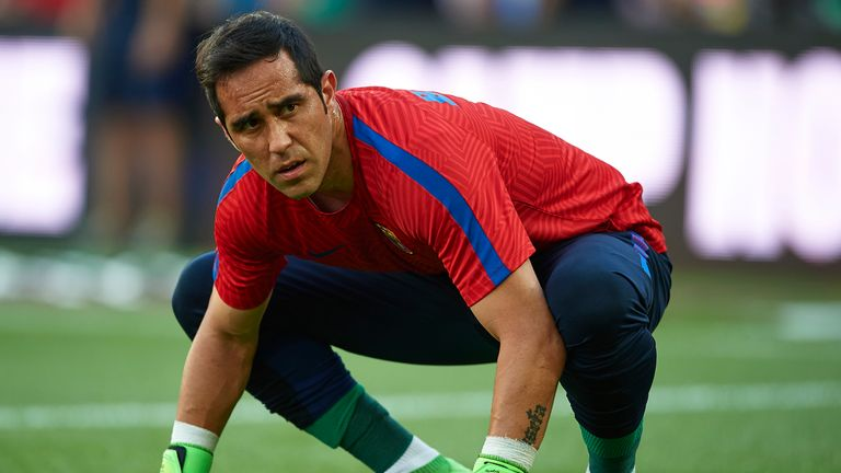 BARCELONA, SPAIN - AUGUST 10:  Claudio Bravo of FC Barcelona looks on ahead of the Joan Gamper trophy match between FC Barcelona and UC Sampdoria at Camp N