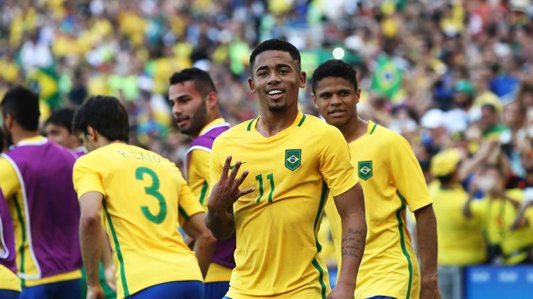 Gabriel Jesus celebrates scoring during the men's semi-final