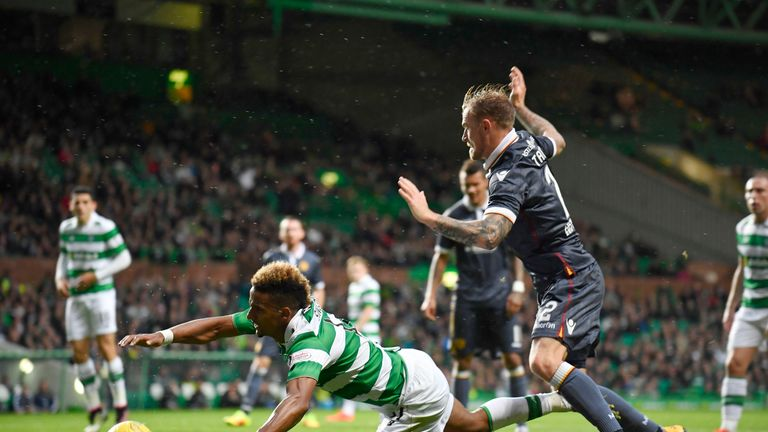 Richard Tait concedes a penalty as Scott Sinclair goes to ground on Wednesday