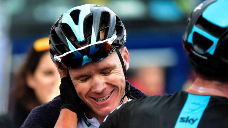 Froome was congratulated by team-mates after his win
