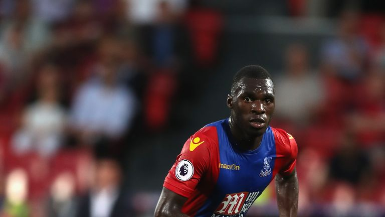 LONDON, ENGLAND - AUGUST 23:  Christian Benteke of Crystal Palace in action during the EFL Cup Second Round match between Crystal Palace and Blackpool at S