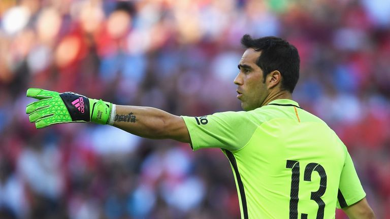 LONDON, ENGLAND - AUGUST 06: Claudio Bravo of Barcelona in action during the International Champions Cup match between Liverpool and Barcelona at Wembley S