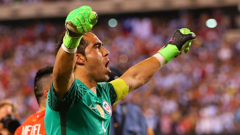 EAST RUTHERFORD, NJ - JUNE 26: Claudio Bravo #1 of Chile celebrates after defeating the Argentina to win the Copa America Centenario Championship match at