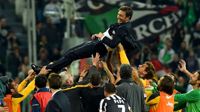 Conte won three Serie A titles during his three years at Juventus