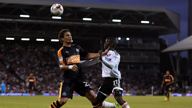 Daryl Janmaat (left) in action against Fulham earlier this season