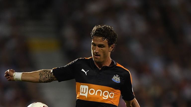 LONDON, ENGLAND - AUGUST 05:  Daryl Janmaat of Newcastle in action during the Sky Bet Championship match between Fulham and Newcastle United at Craven Cott