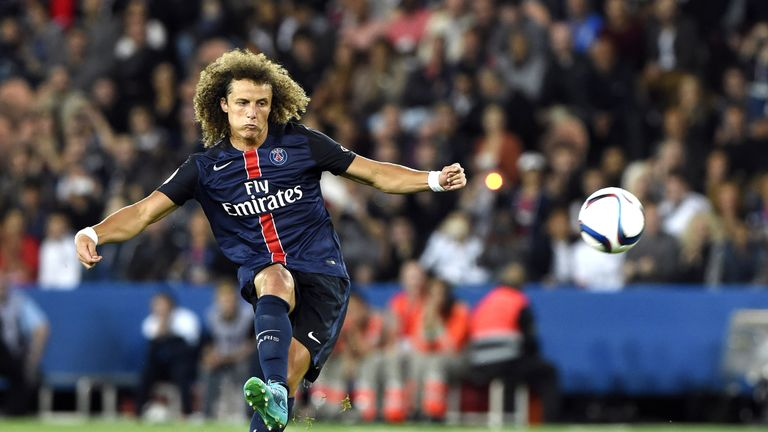 David Luiz in action during the Ligue 1 match between Paris Saint-Germain and GFC Ajaccio