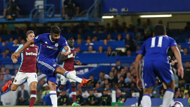 Chelsea's Brazilian-born Spanish striker Diego Costa (2nd L) shoots to score their second goal during the English Premier League football match between Che