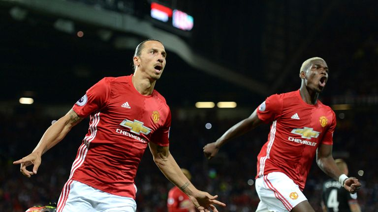Zlatan Ibrahimovic (L) celebrates with Paul Pogba after scoring United's second goal