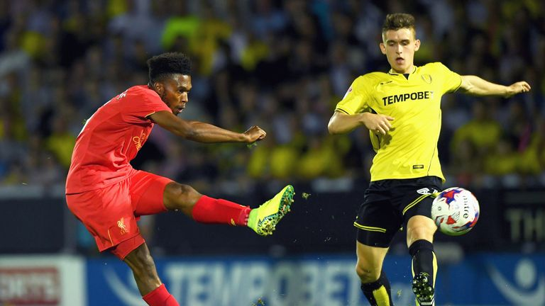 Daniel Sturridge shoots at goal during the EFL Cup second round match at Burton Albion