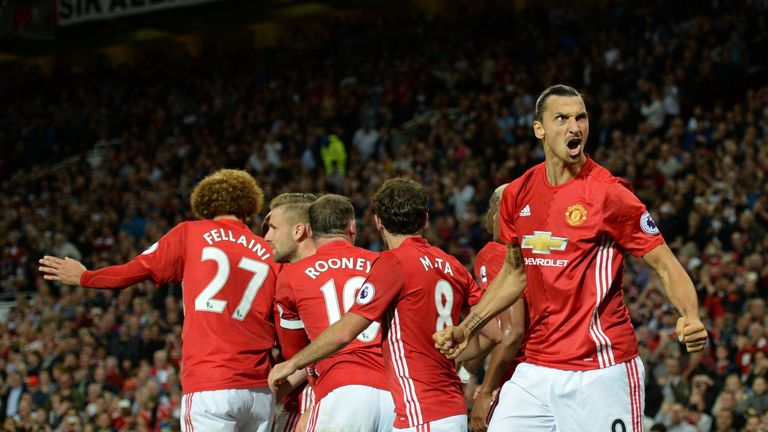 Ibrahimovic celebrates after scoring his second goal