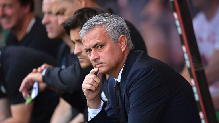 Jose Mourinho takes his seat at the Vitality Stadium