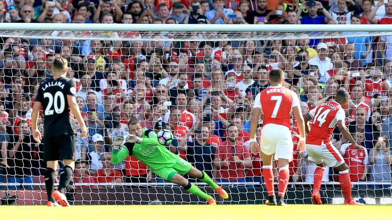 Theo Walcott (right) has a penalty saved by Liverpool goalkeeper Simon Mignolet