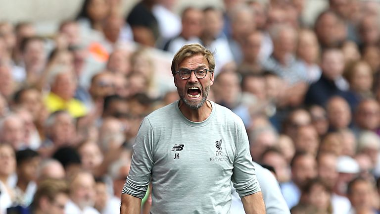 Jurgen Klopp reacts on the touchline during the Premier League match at White Hart Lane