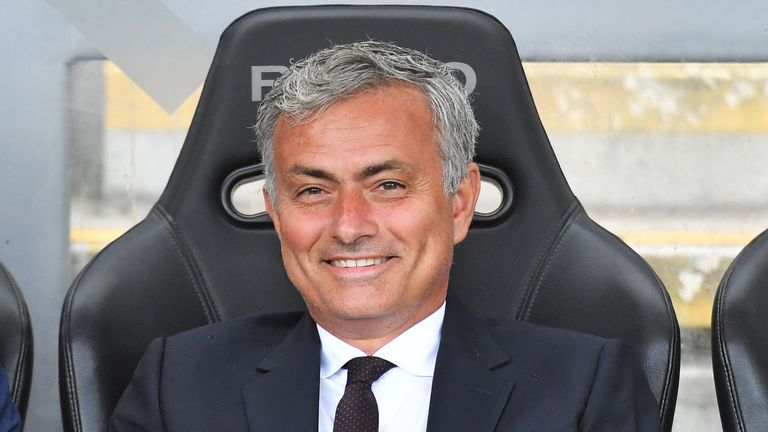 Manchester United manager Jose Mourinho is all smiles before the game