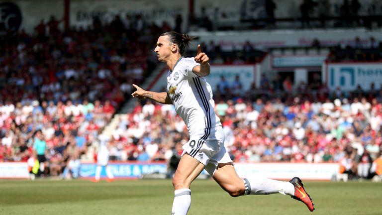 Zlatan Ibrahimovic celebrates scoring Manchester United's  third goal