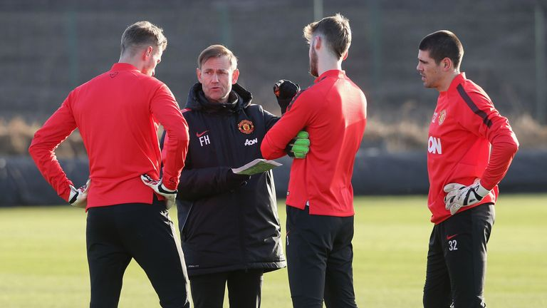 Frans Hoek with Manchester United's goalkeepers (including David de Gea and Victor Valdes) on January 9, 2015 in Manchester, England.