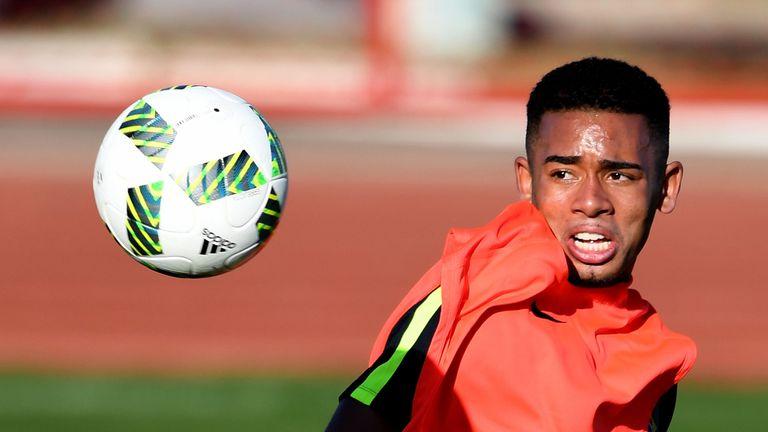 Brazilian footballer Gabriel Jesus takes part in a training session