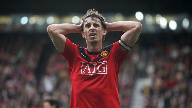 Gary Neville shows his disappointment after the Premier League match between Manchester United and Chelsea at Old Trafford on April 3, 2010