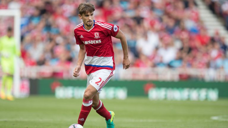 MIDDLESBOROUGH, ENGLAND - AUGUST 13: Gaston Ramirez of Middlesbrough during the Premier League match between Middlesbrough and Stoke City on August 13, 201