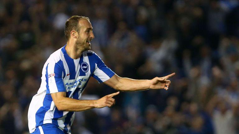 Brighton and Hove Albion's Glenn Murray celebrates scoring his side's third goal