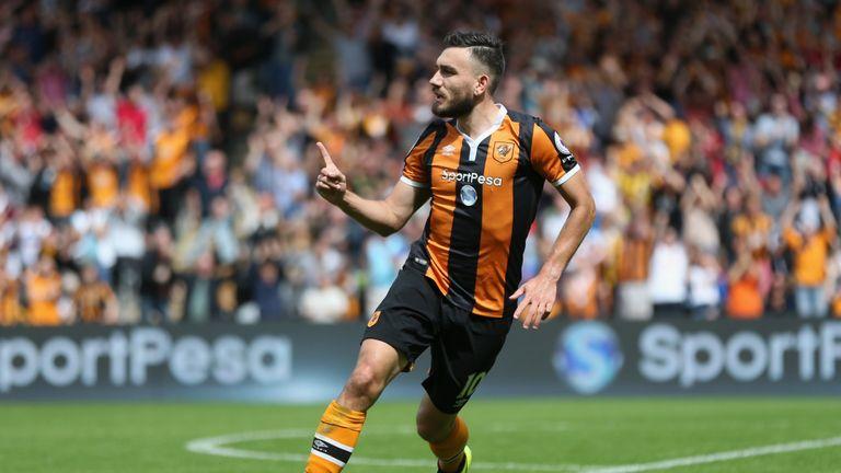Robert Snodgrass of Hull City celebrates