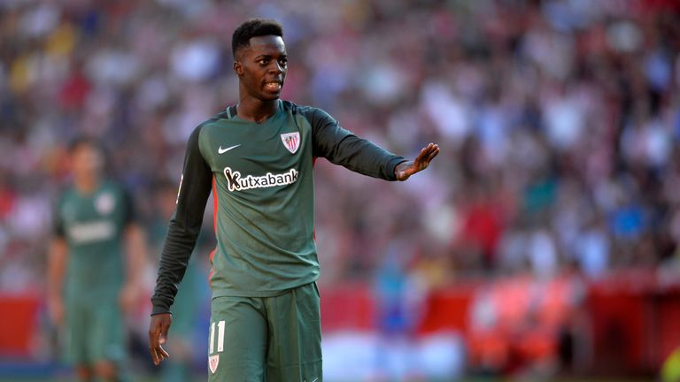 Athletic Bilbao's forward Inaki Williams gestures during the Spanish league football match Real Sporting de Gijon vs Athletic Club Bilbao at El Molinon sta