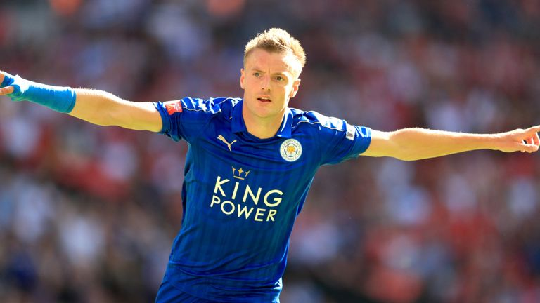 Leicester City's Jamie Vardy celebrates scoring his side's first goal of the game during the Community Shield match at Wembley Stadium, London