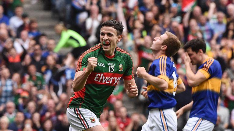 Jason Doherty celebrates scoring Mayo's first goal