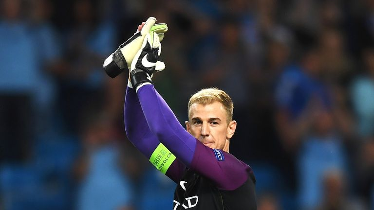 Joe Hart applauds the fans at the final whistle
