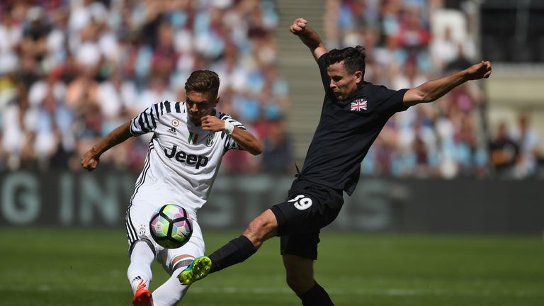 LONDON, ENGLAND - AUGUST 07:  Roman Macek of Juventus is challenged by Josh Cullen of West Ham during the Pre-Season Friendly between West Ham United and J