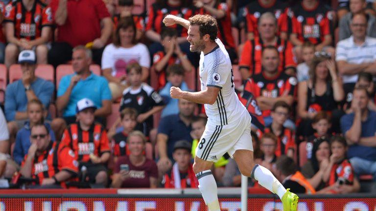 Juan Mata celerbates scoring the opening goal for Manchester United