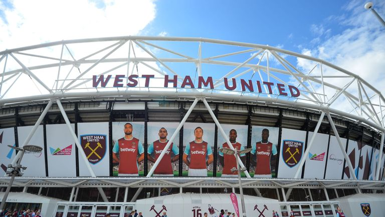 A general view outside the London Stadium ahead of the  English Premier League football match between West Ham United and Bournemouth in east London on Aug