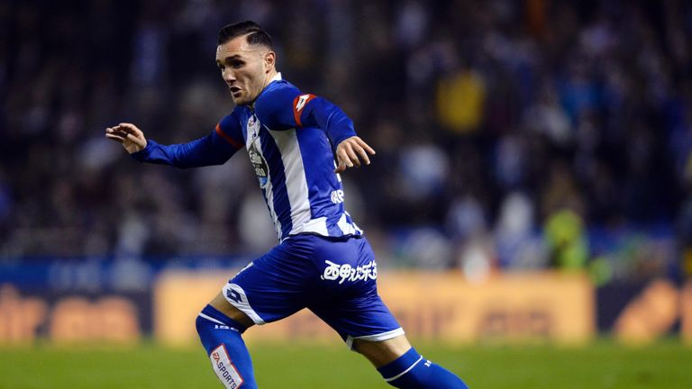 Lucas Perez in action for Deportivo La Coruna