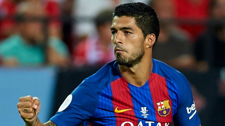Luis Suarez of Barcelona in action during the 2016 Spanish Super Cup v Sevilla