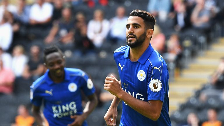 HULL, ENGLAND - AUGUST 13: Riyad Mahrez of Leicester City celebrates scoring his sides first goal during the Premier League match between Hull City and Lei