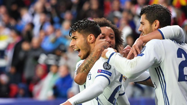 Marco Asensio of Real Madrid celebrates scoring the opening goal during the UEFA Super Cup match v Sevilla at Lerkendal Stadion in Trondheim, Norway