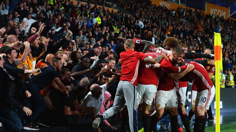 Marcus Rashford celebrates scoring his side's winning goal at Hull