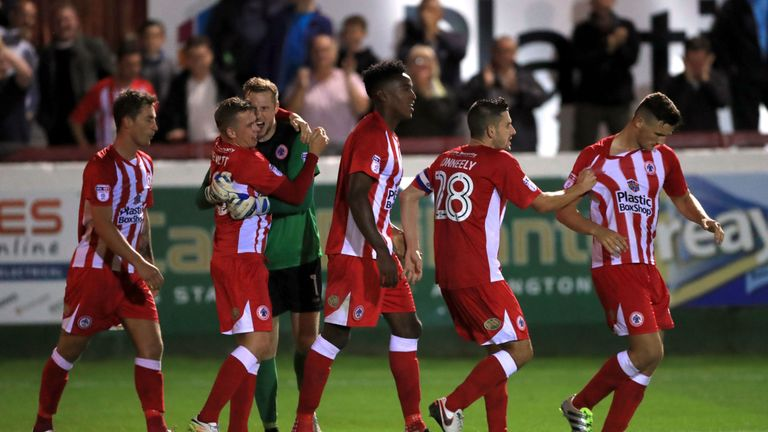 Accrington Stanley's Matty Pearson (right) celebrates the winning goal