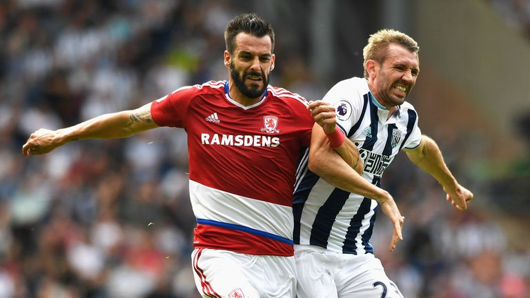 Darren Fletcher and Alvaro Negredo challenge for the ball during West Brom's Premier League match against Middlesbrough.