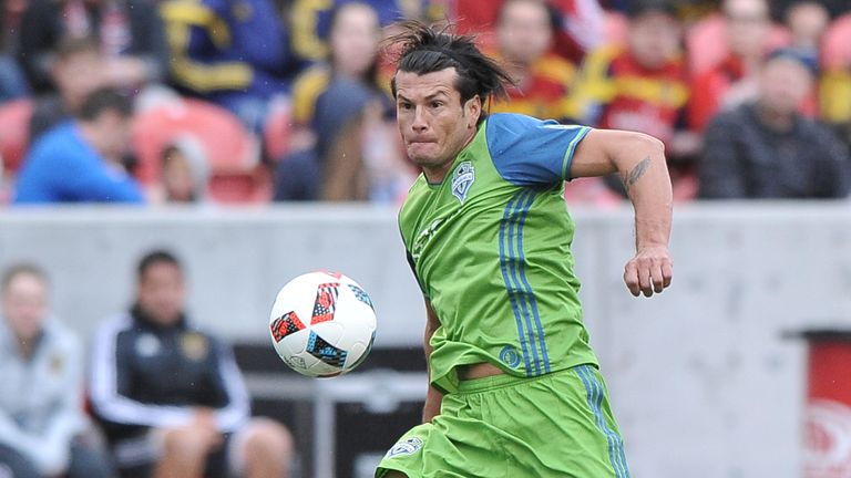 SANDY, UT - MARCH 12: Nelson Haedo Valdez #16 of Seattle Sounders FC controls the ball in the game against Real Salt Lake at Rio Tinto Stadium on March 12,