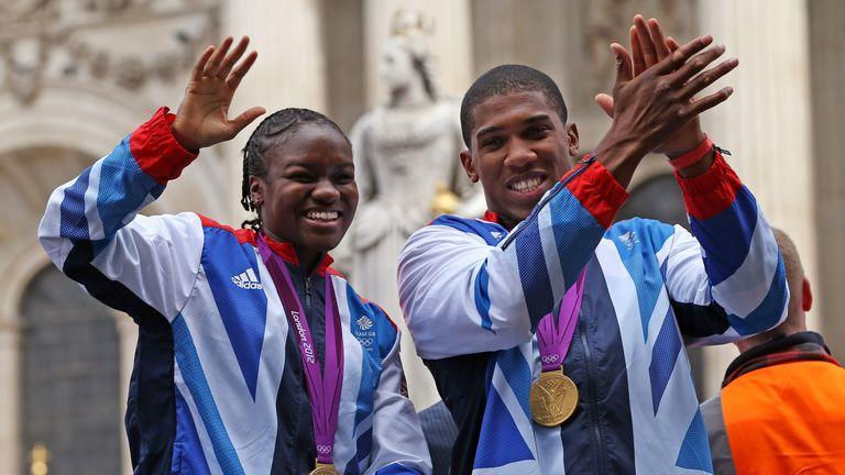 Nicola Adams and Joshua after their 2012 triumphs