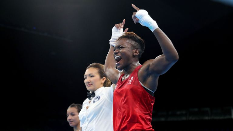 Great Britain's Nicola Adams celebrates victory over France's Sarah Ourahmoune to win Olympic gold