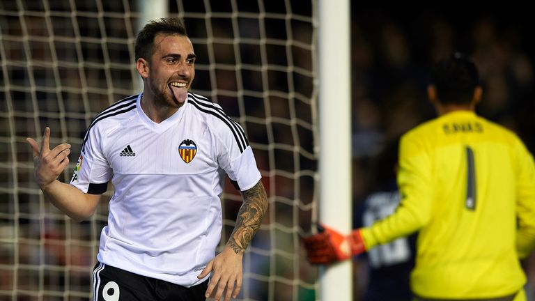 Paco Alcacer of Valencia celebrates scoring against Real Madrid
