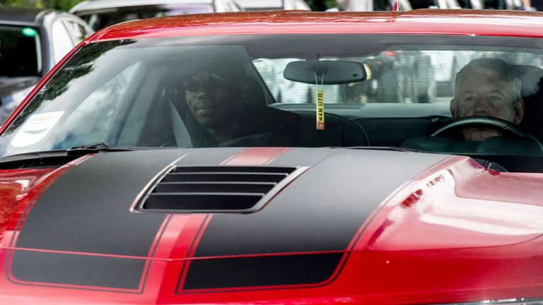 Paul Pogba arrives at Carrington for his medical on Monday