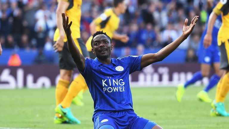 Ahmed Musa of Leicester City appeals for a penalty