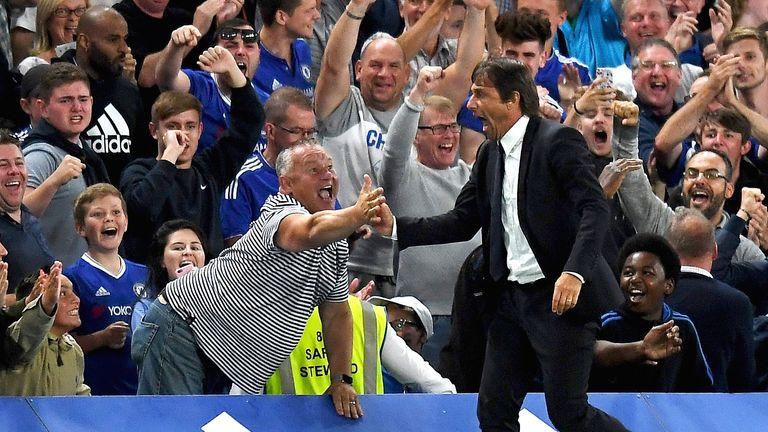 Antonio Conte celebrates with Chelsea fans