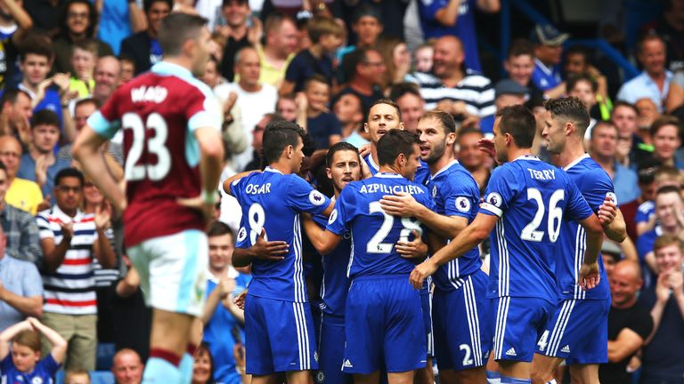 Eden Hazard celebrates with his Chelsea team-mates after scoring the opening goal